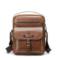 Mens Messenger Shoulder Bag Leather Crossbody Satchel Small