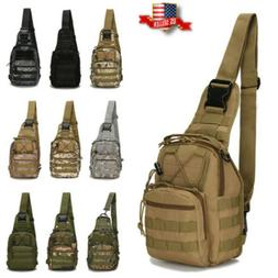 Mens Molle Tactical Sling Chest Bag Assault Pack Messenger S