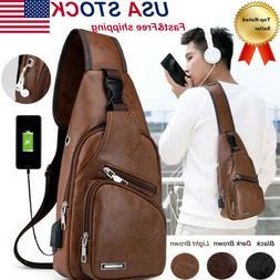 Mens PU Leather Chest Bag Shoulder Pack USB Charging Port Me