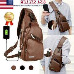 Mens PU Leather Chest Pack Bags Synthetic leather handbag US