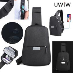 WIWU Mens Sling Chest Bag USB Charging Pack Messenger Should