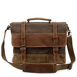 Mens Vintage Retro Genuine Leather Messenger Bag Waterproof