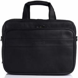 "Alpine Swiss Messenger Bag Leather 17"" Laptop Briefcase Po"
