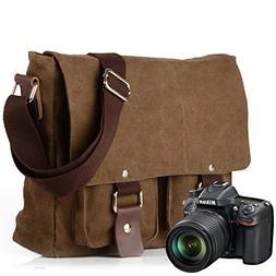 Peacechaos Men s Canvas Leather DSLR SLR Vintage Camera Mess c4e180fe73