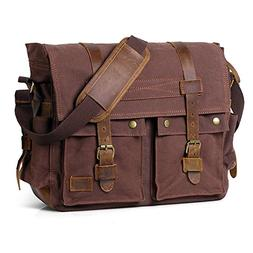 Artandcraft 17 Inch Men's Messenger Bag Vintage Canvas Leath