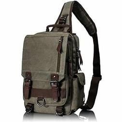 Leaper Messenger Bags Canvas Sling Cross Body Shoulder Army