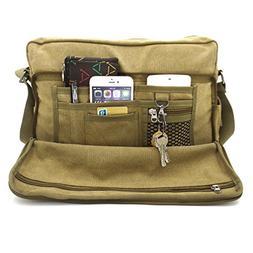 Laptop Messenger Shoulder Bag Multifunction Canvas Messenger