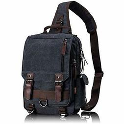 Messenger Bags Leaper Canvas Sling Cross Body Shoulder Black