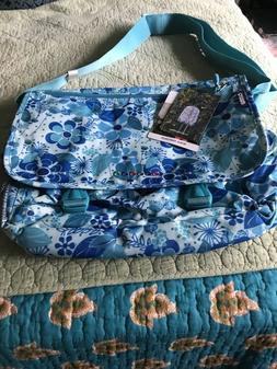 J World New York Messenger Laptop Bag Blue Floral Canvas Car