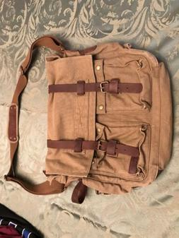 Berchirly Military Canvas w/ Leather Trim Shoulder Messenger