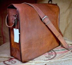 """New 18"""" Large MESSENGER Bag Genuine Brown Leather Satchel La"""