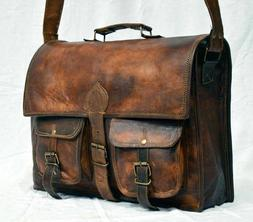 New Briefcase Vintage Style Real Leather Bag Satchel Messeng