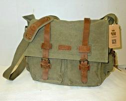 new canvas leather shoulder bag messenger khaki
