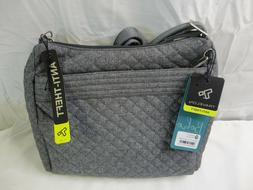 New Travelon Crossbody Quilted Grey Messenger Bag Anti theft