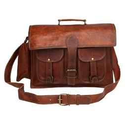 New Genuine Brown Vintage Goat leather Laptop Brief case Mes