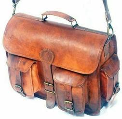"NEW Men Large 18"" Vintage Genuine Leather Laptop Briefcase M"