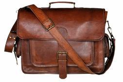 All Leather Messenger Bag Computer Distressed Brown Satchel