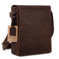 Kattee New Unisex vintage genuine leather PC shoulder Messen