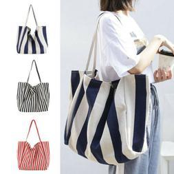 New Women's Canvas Stripe Handbag Shoulder Messenger Bag Sat