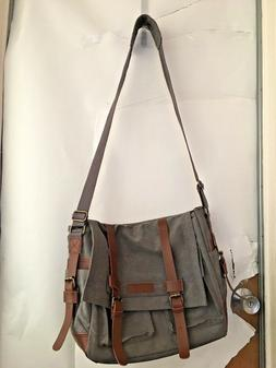NWOT Sweetbriar Gray Brown Messenger Bag Large Flap Laptop c