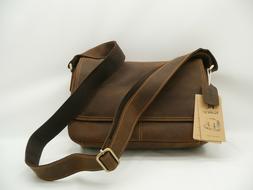 NWT Kattee Brown Cowhide Leather Messenger Briefcase Shoulde