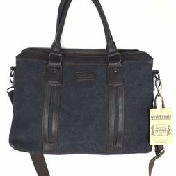 Berchirly NWT Gray Canvas Bag Laptop Dark Brown Leather Stra
