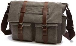 Peacechaos Men Leather Canvas Shoulder Bookbag Laptop Bag Sc