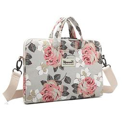 Canvaslife Pink Rose Patten Canvas Laptop Shoulder Messenger