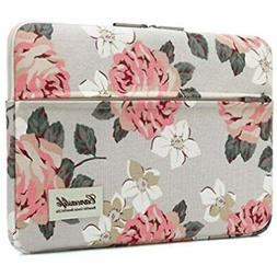 Canvaslife Pink Rose Pattern 13 inch Canvas Laptop Sleeve wi