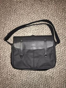 Timbuk2 Proof Laptop Messenger Bag Leather Canvas Jet Black
