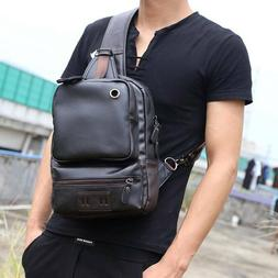 PU Sling Bag Travel Shoulder Backpack Chest Crossbody Daypac