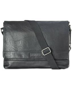Kenneth Cole Reaction Pebbled Top Flap Black Messenger Bag