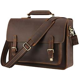 "Kattee Real Leather Shoulder Briefcase, 15.6"" Laptop Tote Me"