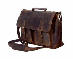 KomalC 18 Inch Retro Buffalo Hunter Leather Laptop Messenger
