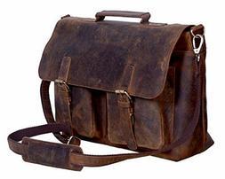 KomalC 18 Inch Retro Buffalo Hunter Leather Laptop Messenger