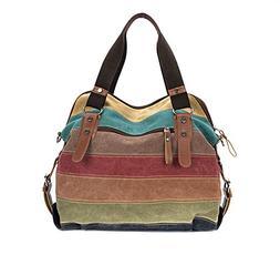 Retro Canvas Colorful Splicing Shoulder Bag Corssbody Messen