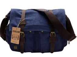 Berchirly Retro Unisex Canvas Leather Messenger Shoulder Bag