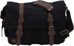 Berchirly Retro Unisex Canvas Leather Messenger Shoulder Bag