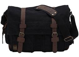 retro canvas leather messenger shoulder