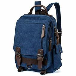 Leaper Retro Canvas Messenger Bag Backpack Travel Cross Body
