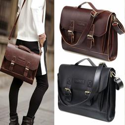 Leather Briefcase Satchel 14-13.3'' Laptop Bag Shoulder Mess