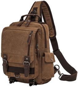Retro Messenger Bag Canvas Shoulder Backpack One Straps Trav