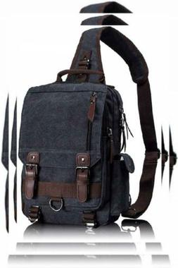 Leaper Retro Messenger Bag Canvas Shoulder Backpack Travel L