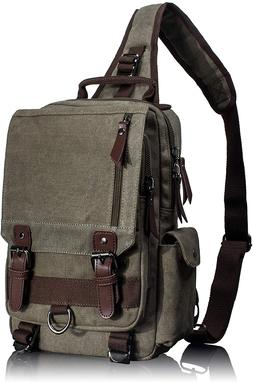 Leaper Retro Messenger Bag Canvas Shoulder Backpack Travel