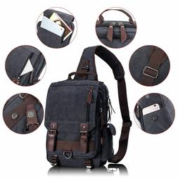 Leaper Retro Messenger Bag Canvas Shoulder Backpack