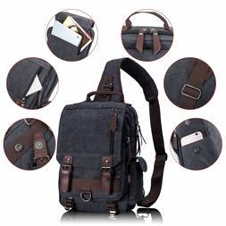 Leaper Retro Messenger Bag Canvas Shoulder Backpack