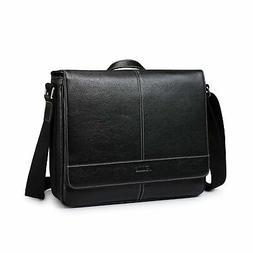 S-ZONE 14 inch Laptop Messenger Bag Men Leather Briefcase Bu