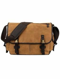 S-Zone 15.6 Messenger Bag For Men Canvas Leather Laptop Busi