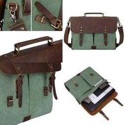 S ZONE Canvas Messenger Bag Genuine Leather Trim Travel Brie