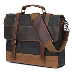 S-ZONE Large Messenger Bag Vintage Waxed Canvas Satchel Leat